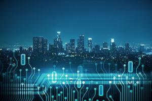 City skyline with data
